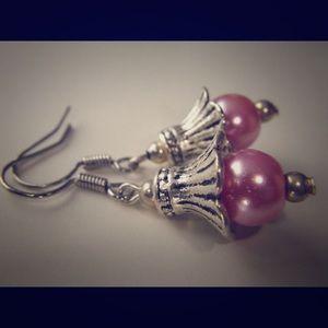 Pink pearl earrings (E012) 🌸